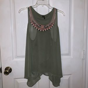 Sheer, army green tank top